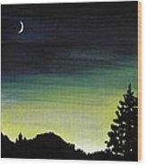 New Moon Wood Print