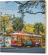 New Orleans - Canal St Streetcar 2 Wood Print