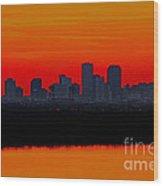 New Orleans City Sunset Wood Print