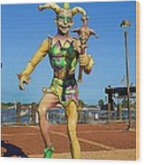 New Orleans Clown French Quarters Wood Print