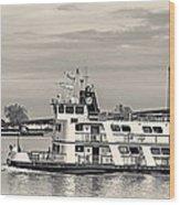 New Orleans Ferry Bw Wood Print