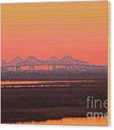 New Orleans Mississippi Bridge Wood Print