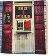 New Orleans Snow Ball Stand Wood Print by Louis Maistros