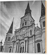 New Orleans St Louis Cathedral Bw Wood Print