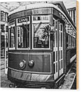 New Orleans Streetcar Black And White Picture Wood Print