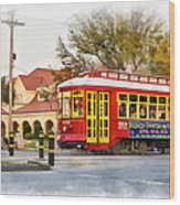 New Orleans Streetcar Paint Wood Print