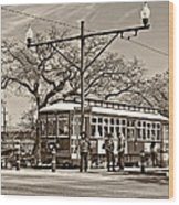 New Orleans Streetcar Sepia Wood Print