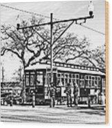 New Orleans Streetcar Silhouette Wood Print
