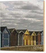 Colourful Wooden English Seaside Beach Huts Wood Print
