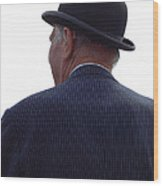 New Photographic Art Print For Sale   Iconic London Man In Bowler Hat Wood Print