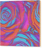Pop Art Pink Neon Roses Wood Print