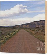 Red Road From The Benedictine Abbey Of Christ In The Desert New Mexico  Wood Print
