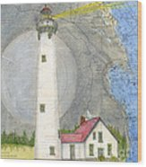 New Presque Isle Lighthouse Mi Nautical Chart Map Art Wood Print