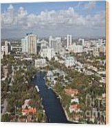New River And Downtown Fort Lauderdale Wood Print
