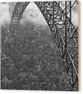 New River Gorge Bridge Black And White Wood Print