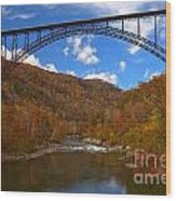 New River Gorge Fiery Fall Colors Wood Print