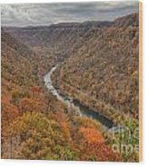 New River Gorge Overlook Fall Foliage Wood Print