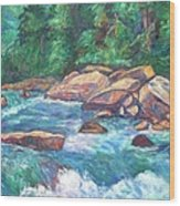 New River Fast Water Wood Print