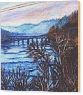 New River Trestle In Fall Wood Print