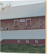 New White Roof  Old Red Barn Wood Print