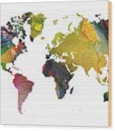 New World Map Wood Print