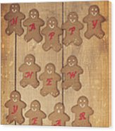 New Year Gingerbread Wood Print