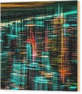 New York - The Night Awakes - Green Wood Print by Hannes Cmarits