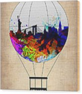 New York Air Balloon Wood Print
