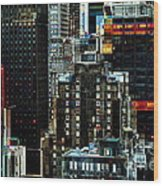 New York At Night - Skyscrapers And Office Windows Wood Print
