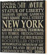 New York Attractions Wood Print