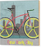 New York Bike Wood Print by Andy Scullion