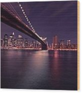 New York Brooklyn Bridge At Night Wood Print