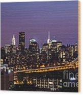 New York By Night Wood Print