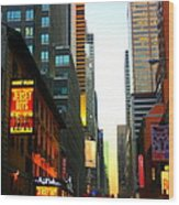 New York By Twilight Wood Print