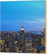 New York By Night Wood Print