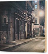 New York City Alley At Night Wood Print