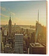 New York City At Sunset Wood Print