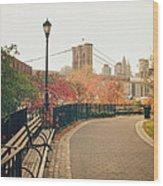 New York City - Autumn - Brooklyn Bridge And Foliage Wood Print