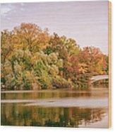 New York City - Autumn - Central Park - Lake And Bow Bridge Wood Print
