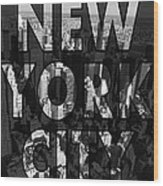 New York City - Black Wood Print