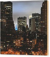 New York City Blue Wood Print