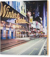 New York City - Broadway Lights And Times Square Wood Print