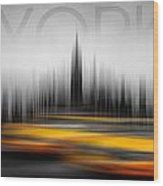New York City Cabs Abstract Wood Print