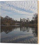 New York City Central Park Bow Bridge Quiet Reflections Wood Print