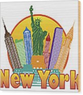 New York City Colorful Skyline In Circle Illustration Wood Print