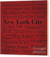 New York City Wood Print by Denyse and Laura Design Studio