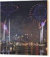 New York City Fireworks Show Wood Print by Songquan Deng