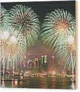 New York City Fireworks Wood Print by Songquan Deng