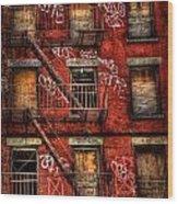 New York City Graffiti Building Wood Print