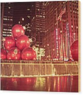 New York City Holiday Decorations Wood Print